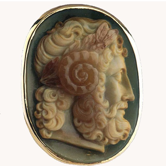 Ring Featuring a Roman Cameo Depicting the Head of Zeus Ammon